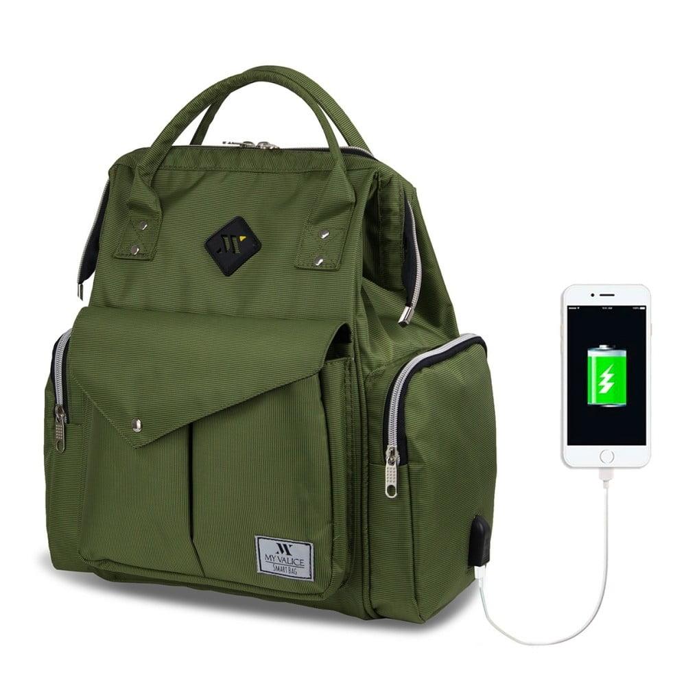a60df24d8f Zelený batoh pro maminky s USB portem My Valice HAPPY MOM Baby Care Backpack