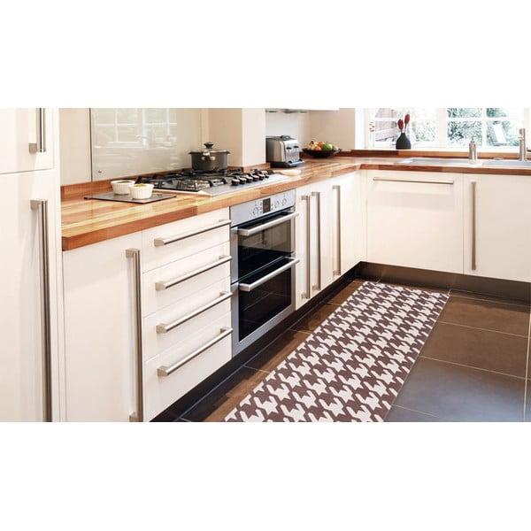 Vysoce odolný kuchyňský koberec Webtappeti Pied de Poule Brown,80x130cm