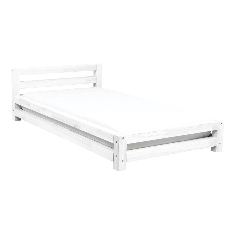Bílá jednolůžková postel z borovicového dřeva Benlemi Single,80x160cm
