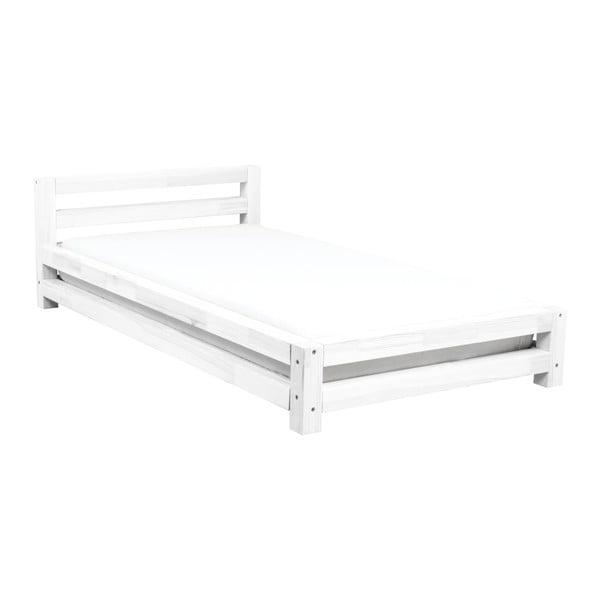 Białe 1-osobowe łóżko dziecięce z drewna sosnowego Benlemi Single,90x180cm
