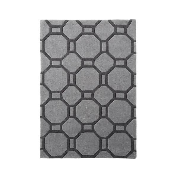 Šedý koberec Tile, 90x150 cm