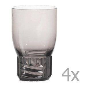 Sada 4 tmavě šedých transparentních sklenic Kartell Trama, 400 ml