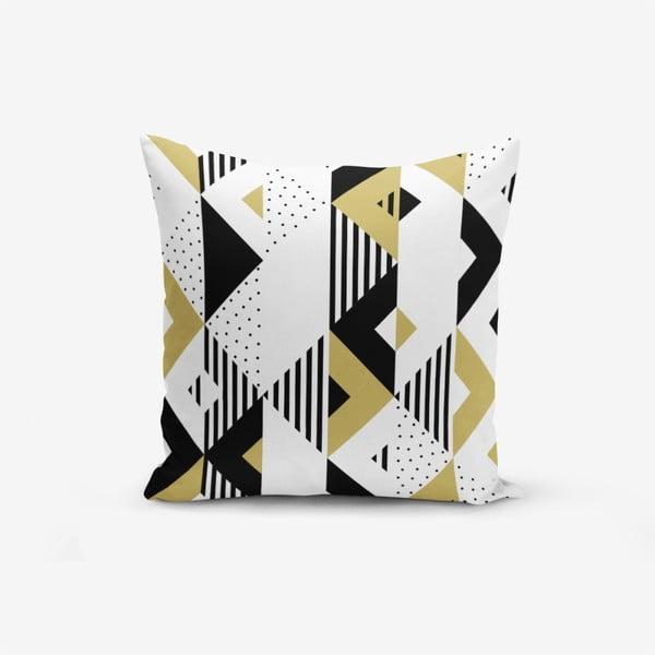 Față de pernă cu amestec din bumbac Minimalist Cushion Covers Mustard Color Geometric Sekiller, 45 x 45 cm