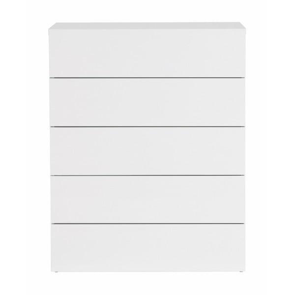 Comodă cu 5 sertare TemaHome Aurora, alb