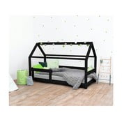 Pat pentru copii, din lemn de molid cu bariere de protecție laterale Benlemi Tery, 80 x 180 cm, negru
