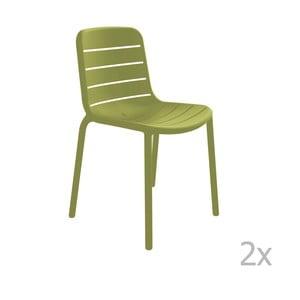 Sada 2 zelených zahradních židlí Resol Gina