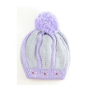 Dívčí čepice Beret Light Grey/Purple