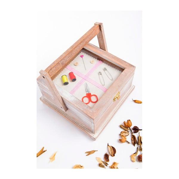 Dřevěná krabička na šití s ouškem