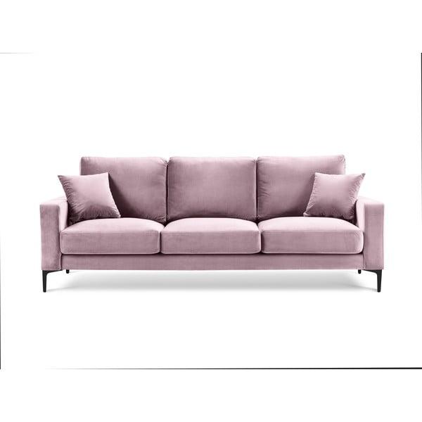 Růžová sametová pohovka Kooko Home Harmony, 220 cm