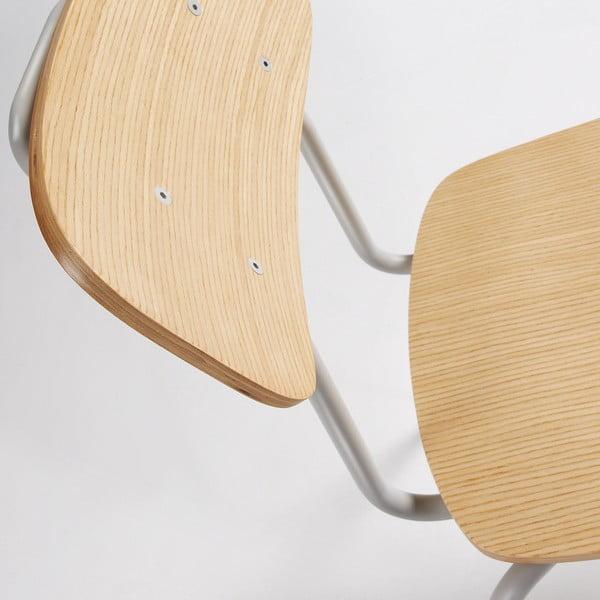 Šedá jídelní židle s přírodním sedákem La Forma Klee