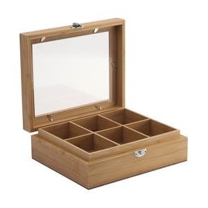 Krabička na čaj s průhledným víkem, bambus