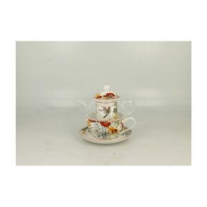 Set skleněné konvičky a porcelánového hrnku s podšálkem Duo Gift Linnea