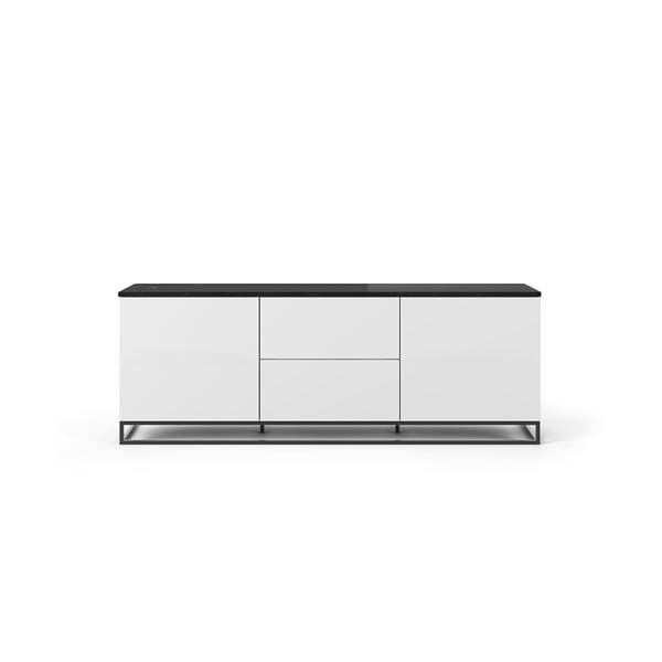 Join fehér TV állvány sötét márvány dekor fedlappal és fekete lábakkal, 180 x 65 cm - TemaHome