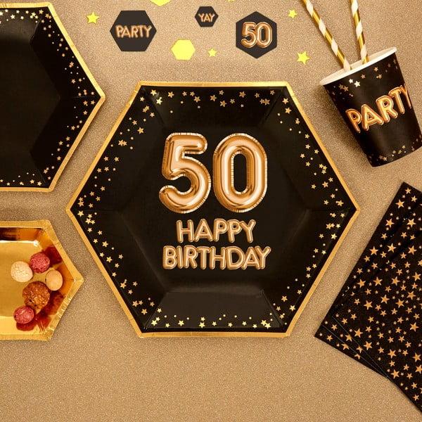 Sada 8 veľkých papierových tanierov Neviti Glitz & Glamour Happy 50