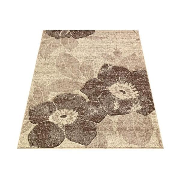 Koberec Webtappeti Intarsio Brown Flower, 140x200 cm
