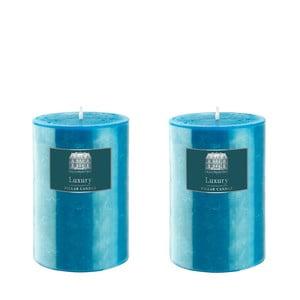 Set dvou svíček 10 cm, tyrkysové, 48 hodin hoření