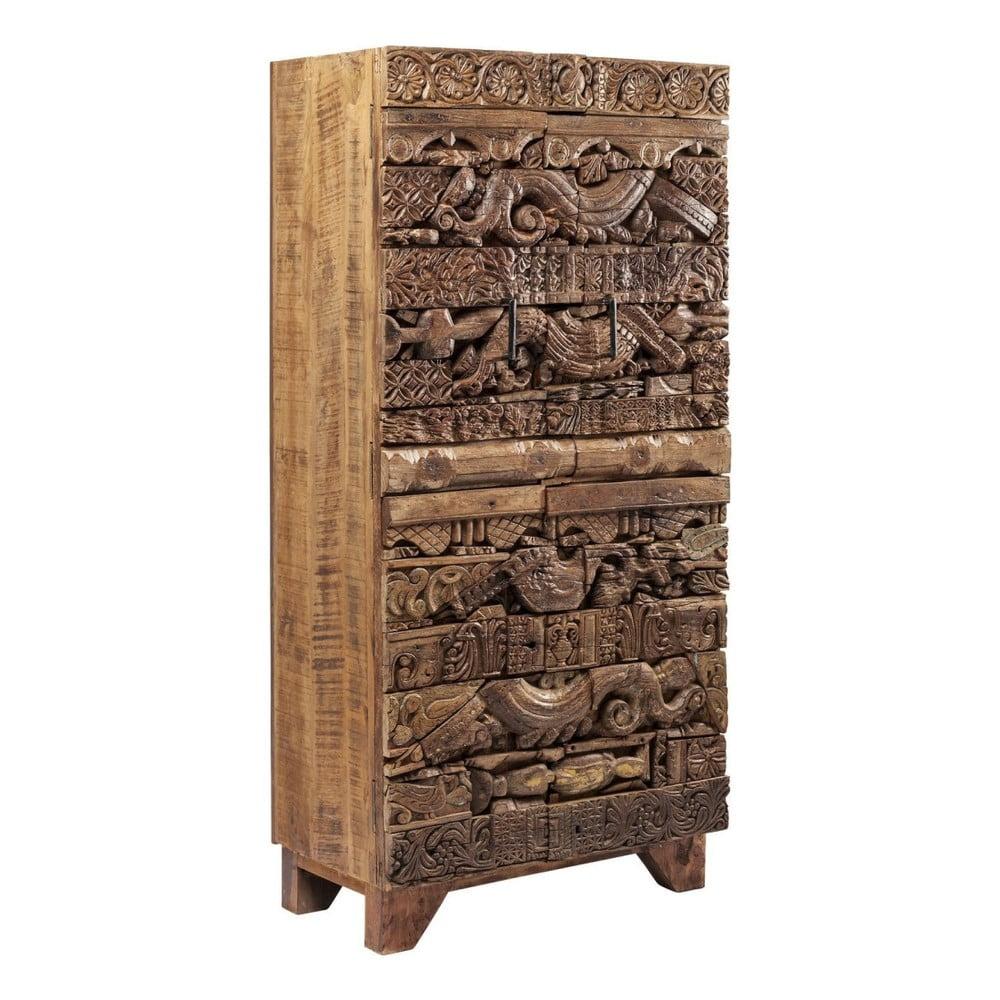 Hnědá dřevěná skříň Kare Design Shanti Surprise Puzzle, 85x180cm