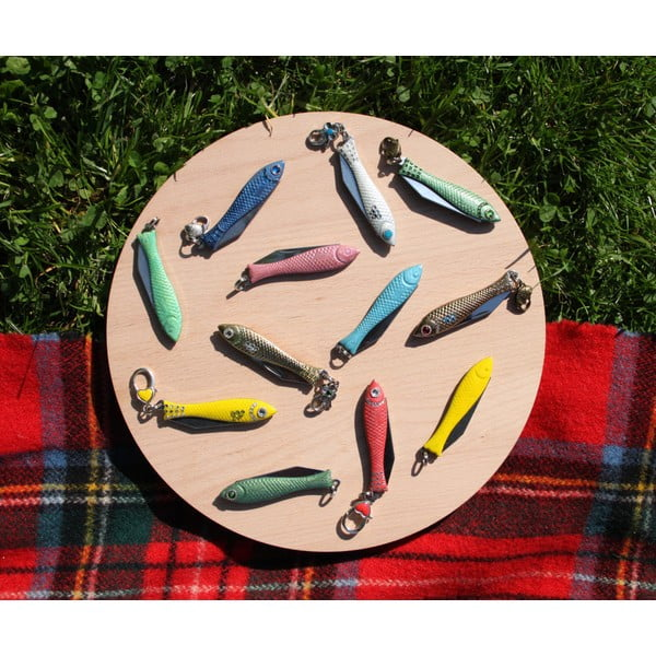 Vánoční český nožík rybička s narůžovělými krystaly, v plechové krabičce