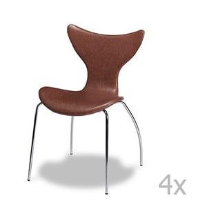 Sada 4 hnědých židlí Furnhouse Amy