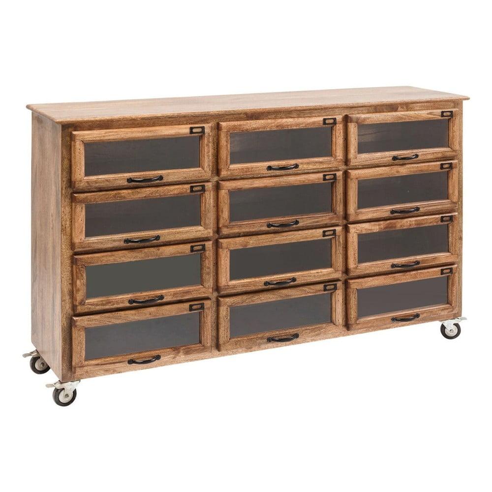 Hnědá dřevěná komoda se šuplíky Kare Design Drugstore, 150x95cm