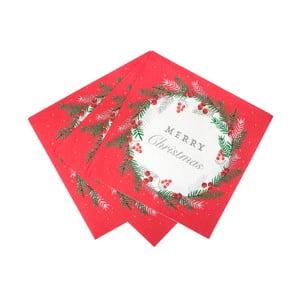 Sada 20 papírových ubrousků Talking tables Berry,33x33cm