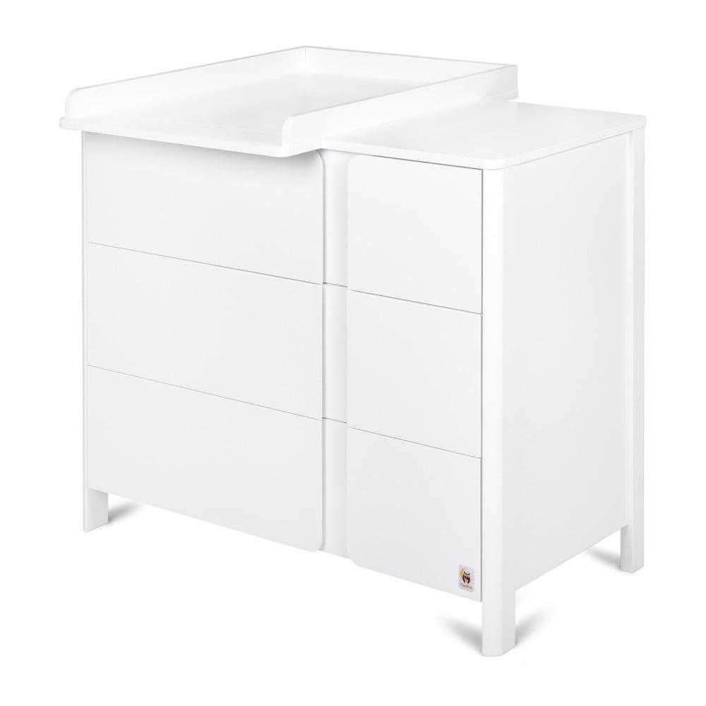 Bílý prádelník se 3 zásuvkami a snímatelným přebalovacím pultem YappyKids Classic