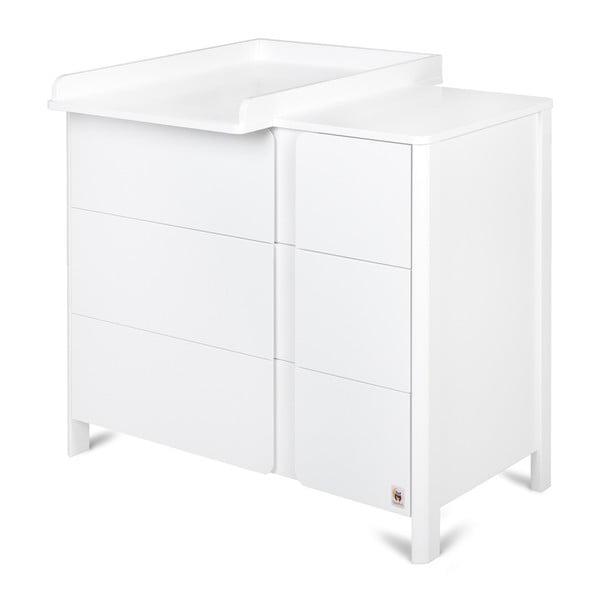 Comodă cu 3 sertare și masă de înfășat detașabilă YappyKids Classic, alb