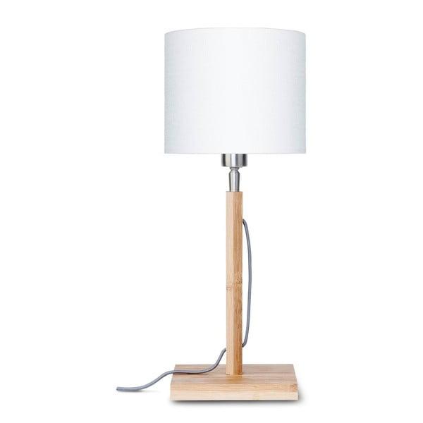 Fuji asztali lámpa fehér lámpabúrával és bambusz lámpatesttel - Good&Mojo