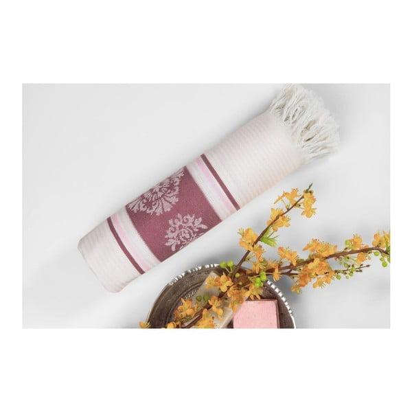 Vínovobéžová hammam osuška Deco Bianca Loincloth Burgundy, 80x170cm