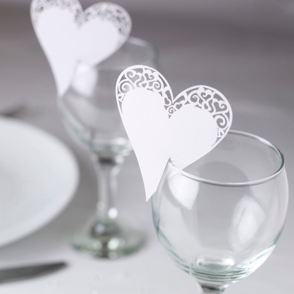 Sada 10 bílých jmenovek na skleničku Neviti Simply Love