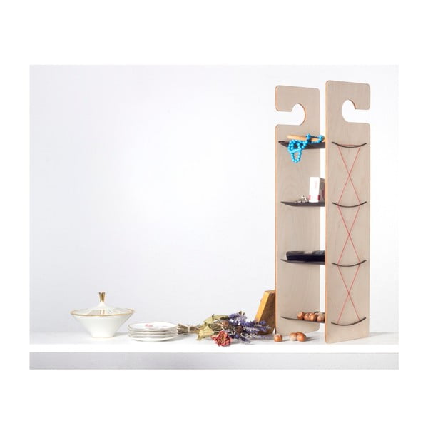 Závěsná/stojací police Smardrobe 59x15 cm, bříza a černá