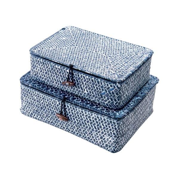 Zestaw 2 niebieskich koszyków trzcinowych Compactor