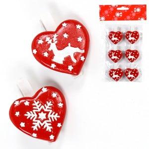 Sada 6 dekorativních vánočních srdíček Unimasa