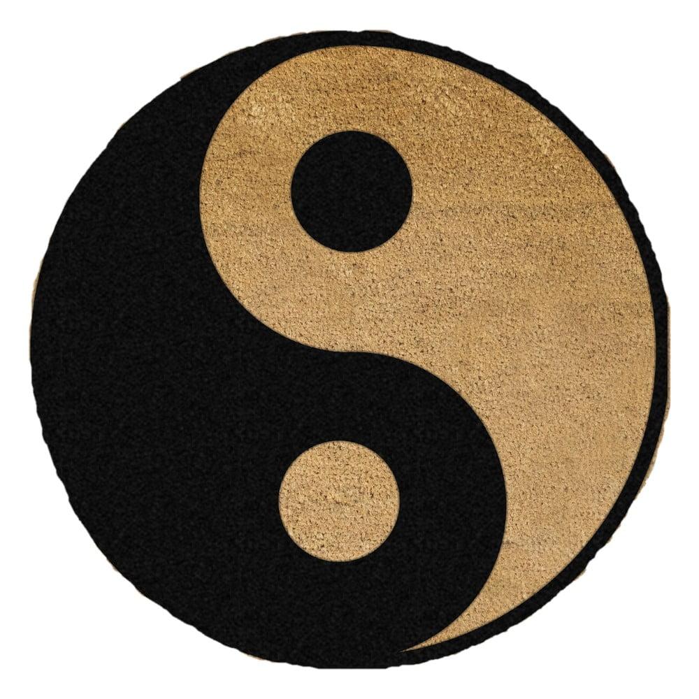 Černá kulatá rohožka z přírodního kokosového vlákna Artsy Doormats Yin Yang, ⌀70cm