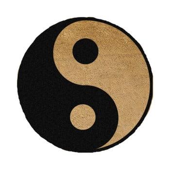 Covor intrare rotund Artsy Doormats Yin Yang, ⌀ 70 cm, negru