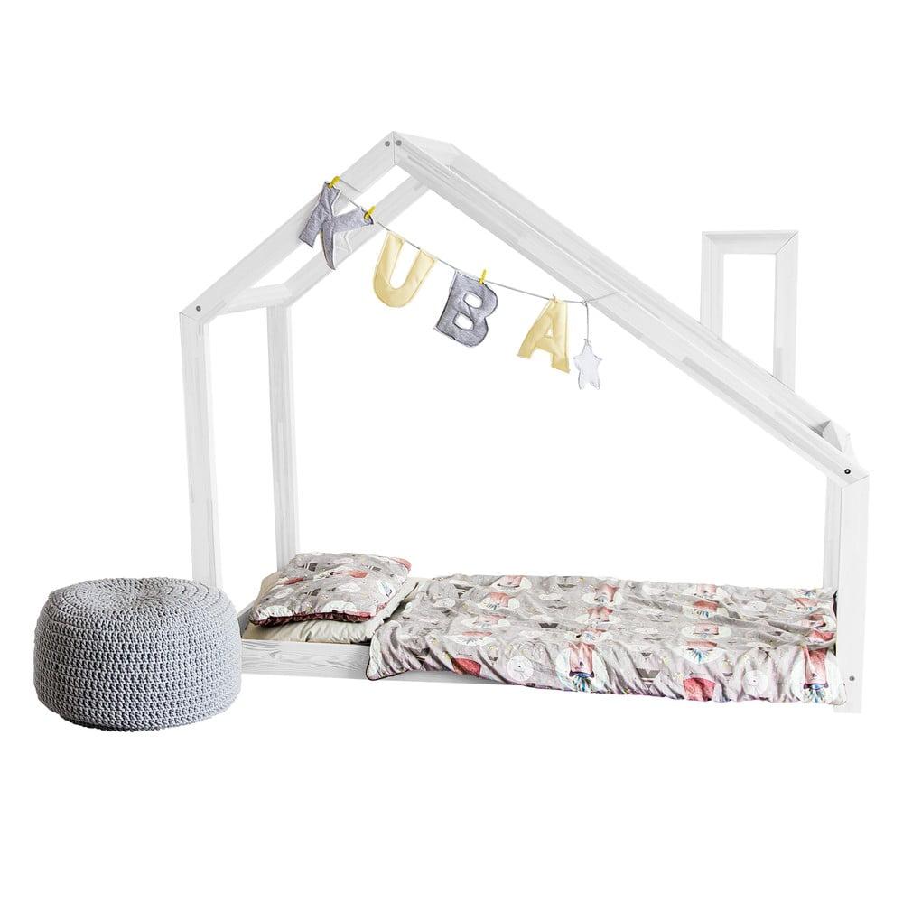 Dětská bílá postel z borovicového dřeva Benlemi Deny, 80 x 160 cm