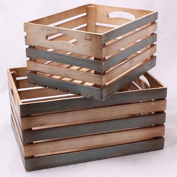 Sada velkých dřevěných přepravek Rustic, 2 ks