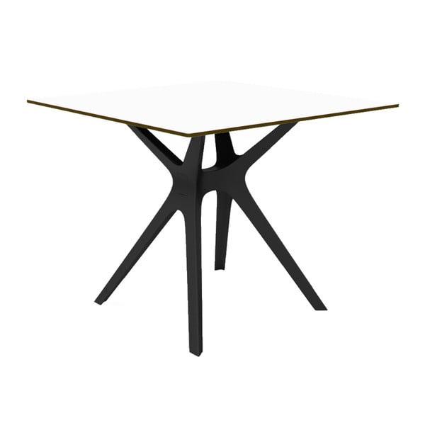 Jídelní stůl s černýma nohama a bílou deskou vhodný do exteriéru Resol Vela, 90 x 90 cm