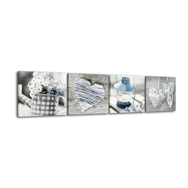 Tablou din 4 piese Styler Shabby Blue, 32 x 32 cm