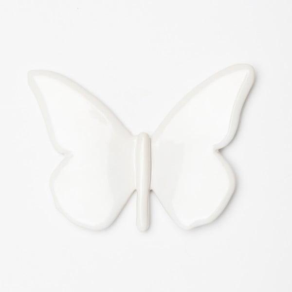 Biała ręcznie wykonana dekoracja ścienna Velvet Atelier Mariposa