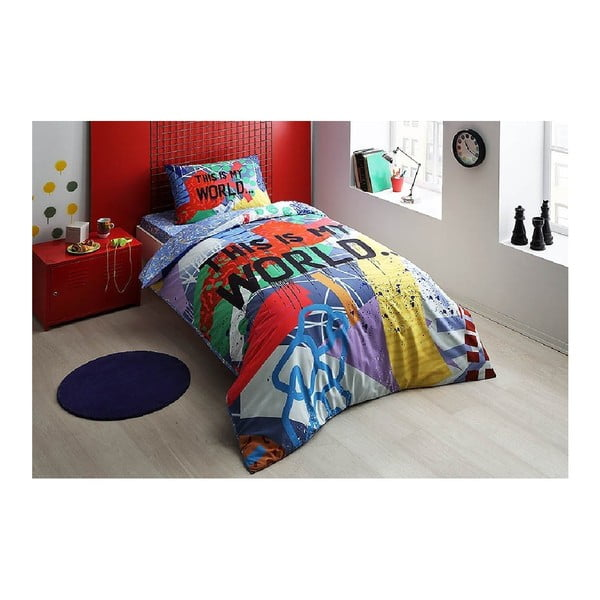 Set lenjerie de pat din bumbac pentru pat de o persoană Ranforce My World, 160 x 220 cm