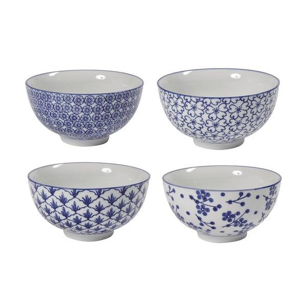 Sada 4 porcelánových misek Blue Bowls, 15 cm