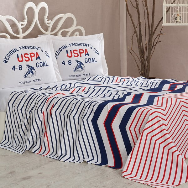 Sada přehozu přes postel a prostěradla U.S. Polo Assn. Driggs, 200x220 cm