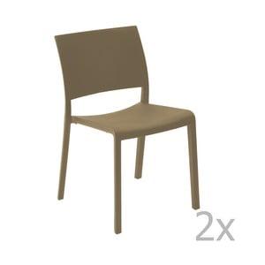 Sada 2 čokoládově hnědých zahradních jídelních židlí Resol Fiona