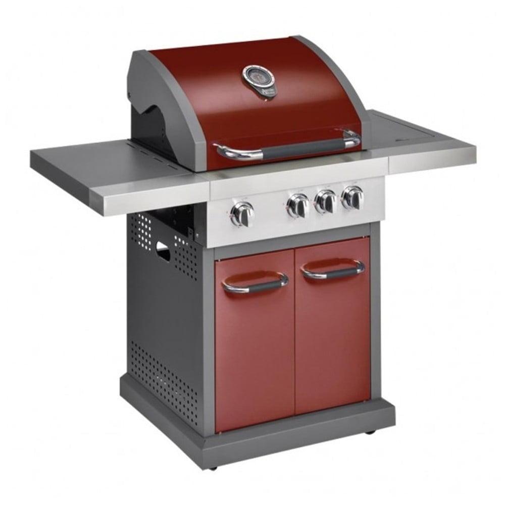 Červený plynový gril se 3 samostatně ovladatelnými hořáky, teploměrem a bočním ohřívačem Jamie Oliver Pro