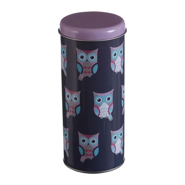 Kulatá cínová dóza Premier Housewares Happy Owls, Ø 8 x 18 cm