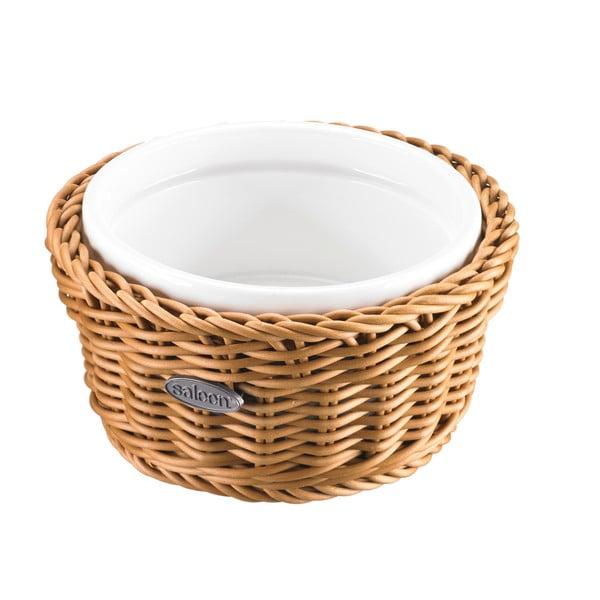 Porcelánová servírovací miska v košíku Korb Round, světlá