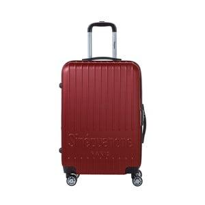 Tmavě červený cestovní kufr na kolečkách s kódovým zámkem SINEQUANONE Chandler, 71 l