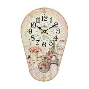Nástěnné hodiny s kyvadlem Eiffel, 30x45 cm