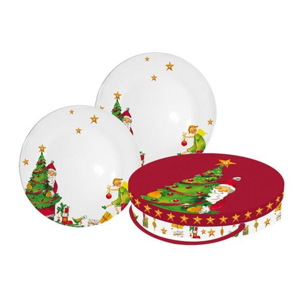 Sada 2 talířů z kostního porcelánu s vánočním motivem v dárkovém balení PPD Gifts Are Coming
